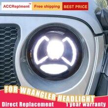 Estilo do carro para jeep wrangler faróis 18 20 novo wrangler led farol led drl cabeça lâmpada led baixo feixe de alta acessórios