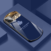 Lujosa funda de teléfono de vidrio templado con forma de hoja de arce Ovalada para iPhone 13, 12, 11 Pro Max, XSmax, XR, X, SE, 8, 7, 6 Plus, funda de silicona con espejo