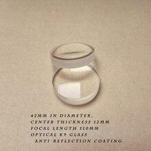 Приклеенная линза k9 стекло диаметром 42 мм фокусным расстоянием