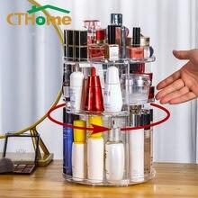 Caixa de armazenamento 360 cosméticos acrílico transparente grande capacidade gaveta preto jóias maquiagem organizador acryl conter luz luxo