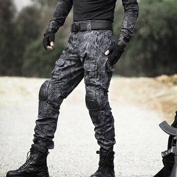 Pantalones tácticos militares de camuflaje para hombre, pantalones Cargo de rana, rodilleras, pantalones de trabajo, pantalones de combate SWAT Hunter del ejército