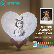 Customized  Heart Shape Moon Lamp Nightlight Personalized Photo Text Lunar USB Charging Night Lamp With Wooden Holder