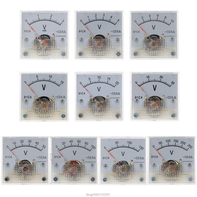 Вольтметр постоянного тока 91C4, аналоговый панельный измеритель напряжения, механическая указка типа 3/5/10/15/20/30/50/100/150/250 в Au 24 20, Прямая постав...