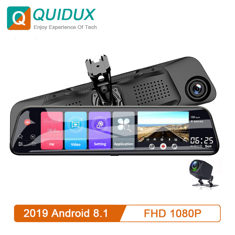 12 Inch Android 8.1 Car DVRs Camera GPS Navi Bluetooth FHD Mirror Recorder Compatible