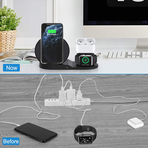 Image 5 - Draadloze Oplader Qi 10W 3 In 1 Wireless Charging Stand Dock Station Voor Airpods Pro Iphone 11 Pro Max xr 8 X Apple Horloge 5 4 3 2