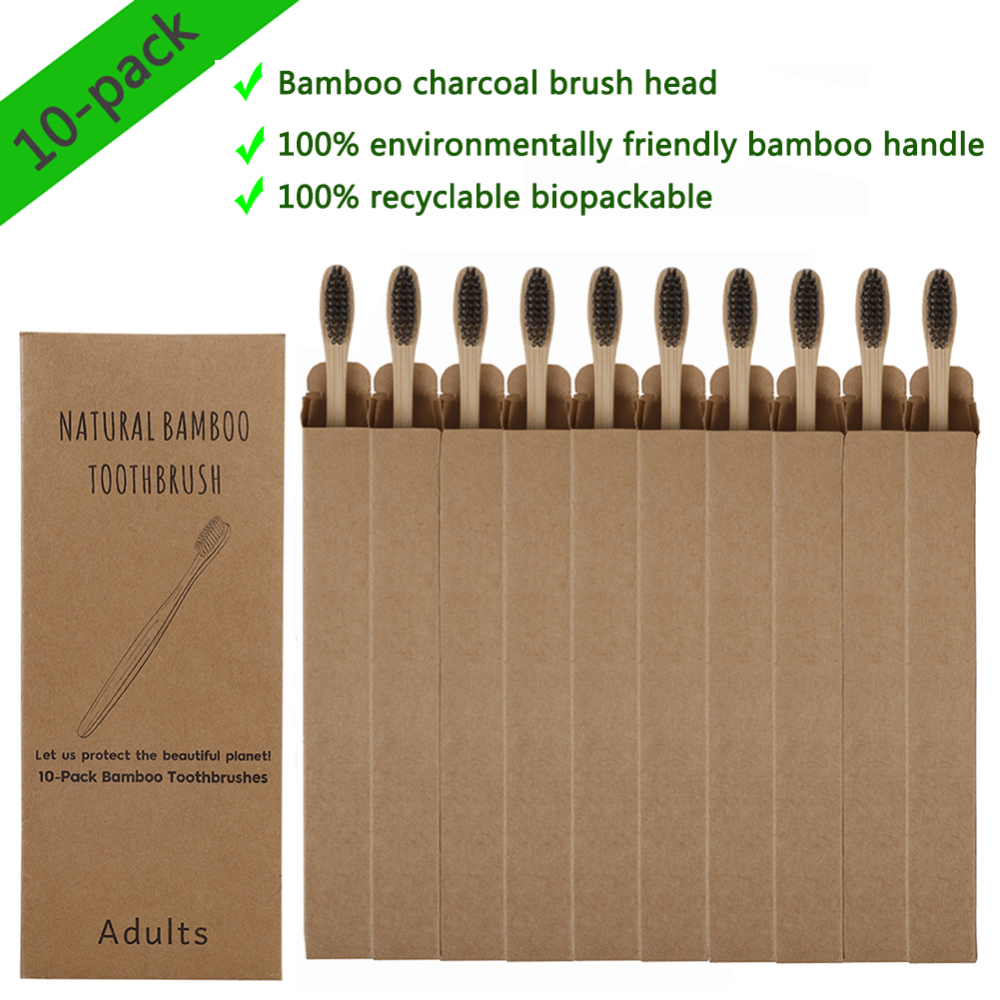 10pcs Bamboo Charcoal Toothbrushes Soft Bristles Eco Friendly Oral Care Travel Tooth Brush image