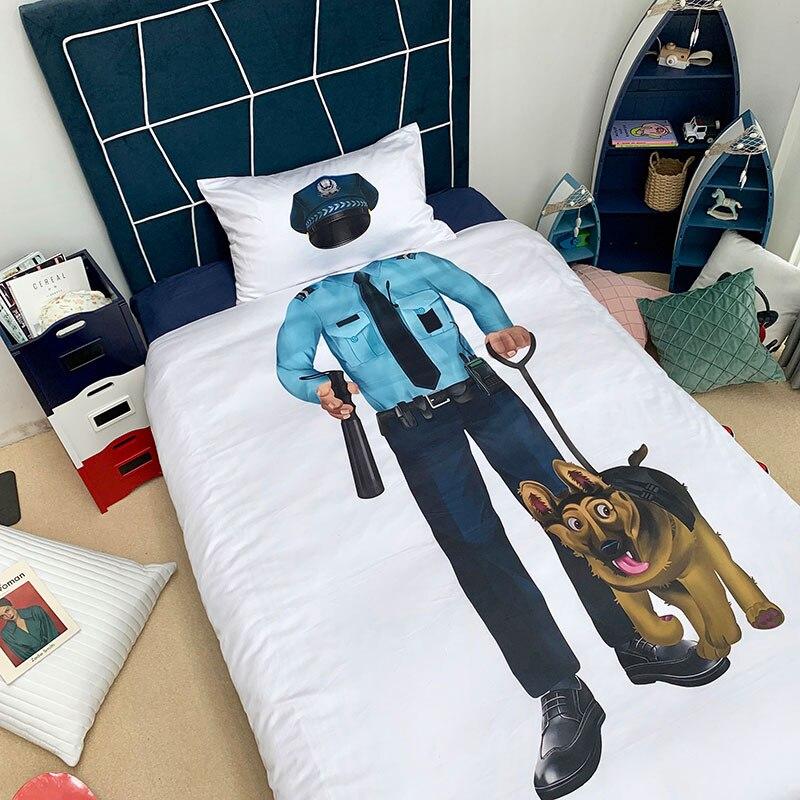 3d police et chien imprime enfants serie ensembles de literie pompier housse de couette doux pour fille garcon reve drap de lit pour enfants cadeau de