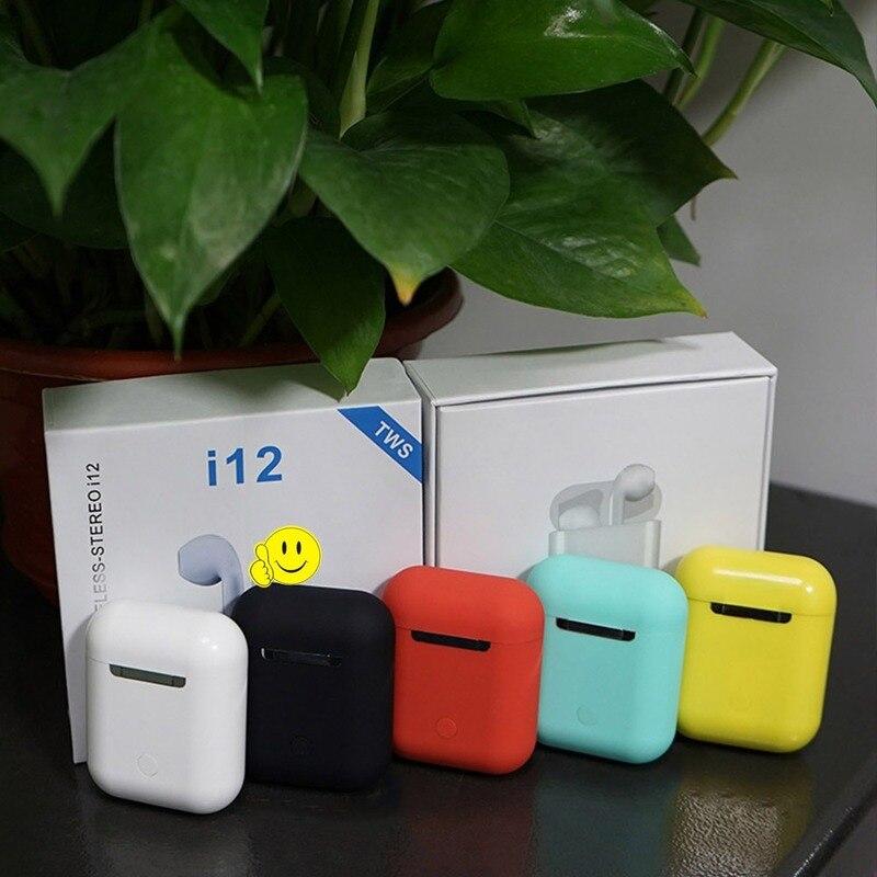 I12 TWS Matte Wireless Bluetooth 5.0 Earphone Earbuds Binaural Subwoofer Surround Earpieces Sport Headset Video Music Headphone