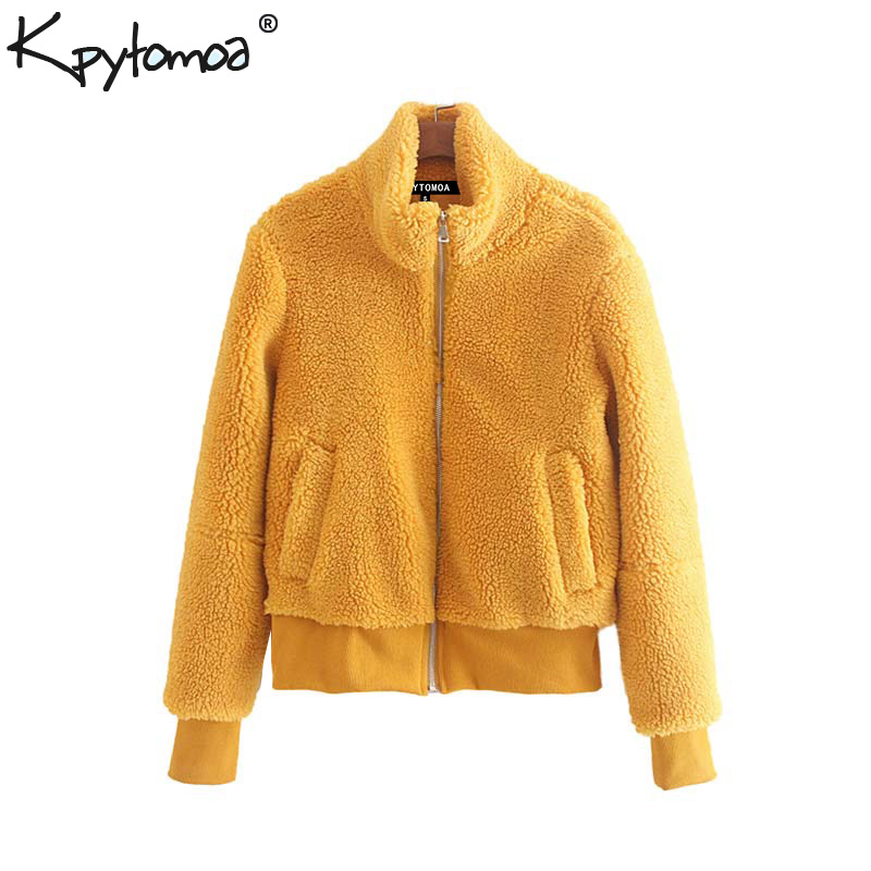 Vintage Stylish Thick Warm Faux Fur Teddy Jacket Coat Women 2019 Fashion Long Sleeve Pockets Zipper Cozy Outerwear Chic Tops