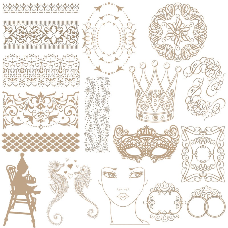 Crown Mask Flower Frame Silver Hot Foil Plate Metal Cutting Dies Stencils For DIY Scrapbooking Album Embossing Crafts Die