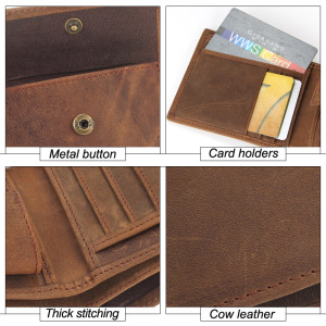 Image 5 - Flanker 100% Genuine Leather Men Small Wallet Casual Short Slim Wallet Brand Bifold Purse with Coin Pocket Card Holder PORTFOLIO