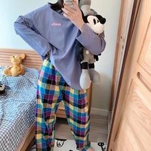 New Print Pants Autumn Winter Sleepwear Set Women Nightshirt Cotton Bathroom Wom