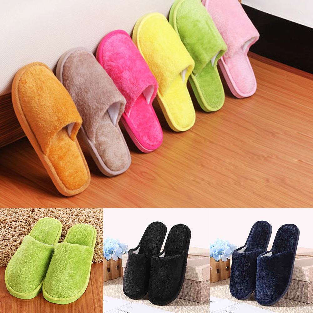Winter Warm Home Slippers Candy Color Women Indoor Bedroom Slippers Cotton Floor Non-slip Flax Shoes #