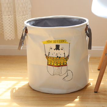 Kalınlaşmış katlanır çamaşır sepeti karikatür depolama varil ayakta oyuncaklar kıyafet dolabı kova çamaşır organizatör tutucu kılıfı 5