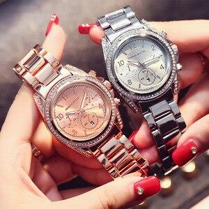 Image 2 - 2019 Top Luxe Merk Vrouwen Rhinestone Rose Gold Sport Horloges Montre Femme Kalender Waterdichte Mode Jurk Dames Gift Horloge