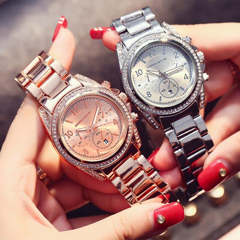 Image 2 - 2019 Top Luxury Brand Women Rhinestone Rose Gold Sport Watches Montre Femme Calendar Waterproof Fashion Dress Ladies Gift WatchWomens Watches   -
