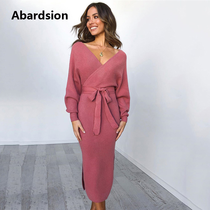 Abardsion Women Knitted Sweater Dress Wrap Belted Tunic Midi Vestidos Long Sleeve Double V Neck Split Casual Autumn Dresses 19 2