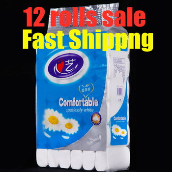 High Quality 12 Rolls 4-Ply Toilet Paper Bathroom Hollow Replacement Baby Tissue Household Cleaning Supplies toilet tissue paper