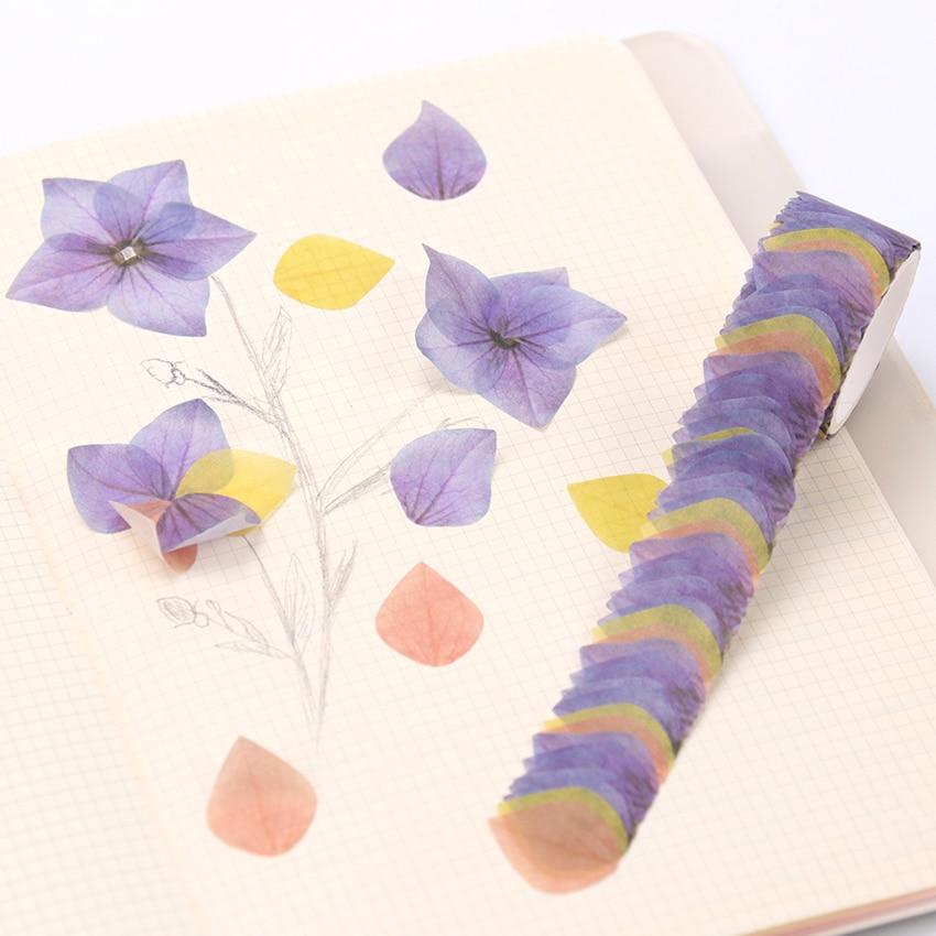 200PCS/Roll Creative Masking Tape Petal Flower Paper Masking Tapes Japanese Washi Tape DIY Scrapbooking Sticker Tape
