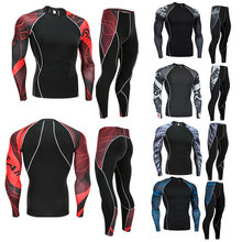 Men Running Compression Sport t shirt Pants Suits Jogging Sets Male Workout Gym Fitness Training Sportswear Tees Tops Leggings