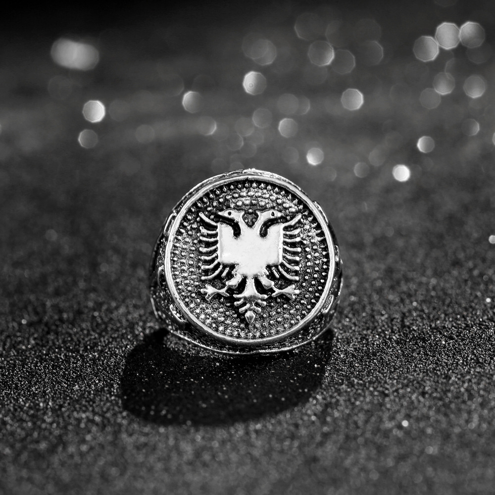 CHENGXUN European Albania Flag Logo Ring Double Headed Eagle Ring Men Jewelry Ancient Silver Vintage Ring Party Birthday Gift 2