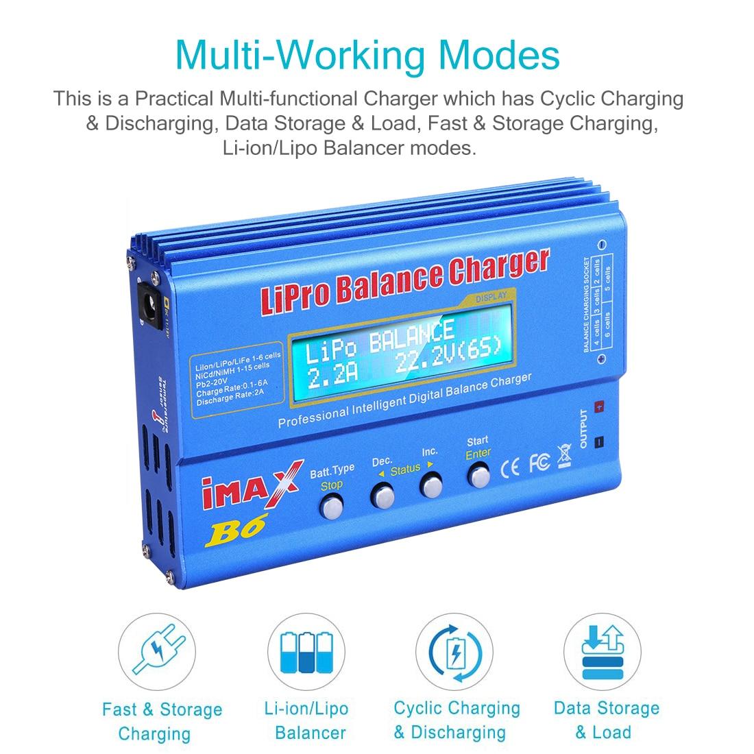 80W Li-Ion Li-Po NiCd Ni-MH Batterie Digital Balance Charger Ladegerät Entlader