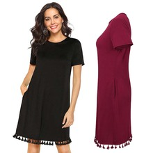Tassel Hem Side Pocket Tee Dress Women Summer Dress 2019 Pocket Dress Shift Solid H Type Tunic Short Sleeve Dresses
