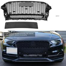For RS3 Quattro Style Front Sport Hex Mesh Honeycomb Hood Grill Gloss Black for Audi A3/S3 8V 2013 2014 2015 2016 Accessories