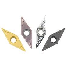 10 CNC bıçakları VBMT160404 TM VBMT160408 MV tek taraflı V şeklinde seramik bıçağı İşleme paslanmaz çelik alüminyum parçalar