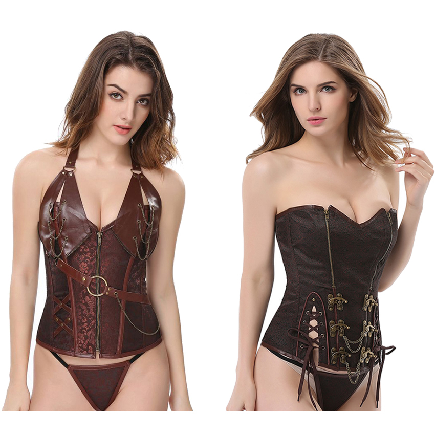 Gothic Steampunk Corset For Women Halloween Party Medieval Cosplay Costumes Strap Boned Sexy Body Shaper Bustier Tops