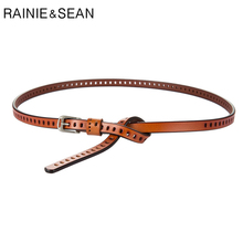 RAINIE SEAN Waist Belts Women Thin Leather Belt Hollow Out Pin Buckle Camel Genuine Fashion Ladies 105cm
