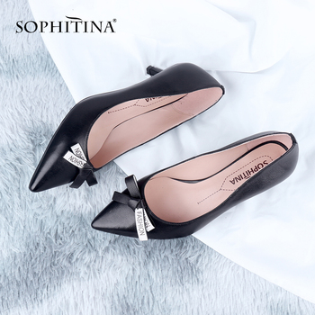 SOPHITINA Office Women Pumps Butterfly-Knot Decoration Pointed Toe Thin Heels Med Black Shoes High Quality Sheepskin Pumps MC643