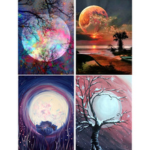 5D Diamond Painting  Moon landscape Cross stitch Full Round Diamond Embroidery Mosaic Picture Rhinestone Home Decor Gift цена