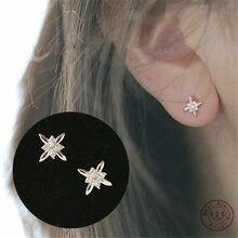 Argento Sterling 925 14K oro semplice cristallo mulino a vento orecchini donne coreano moda festa nuziale gioielli regalo fidanzata