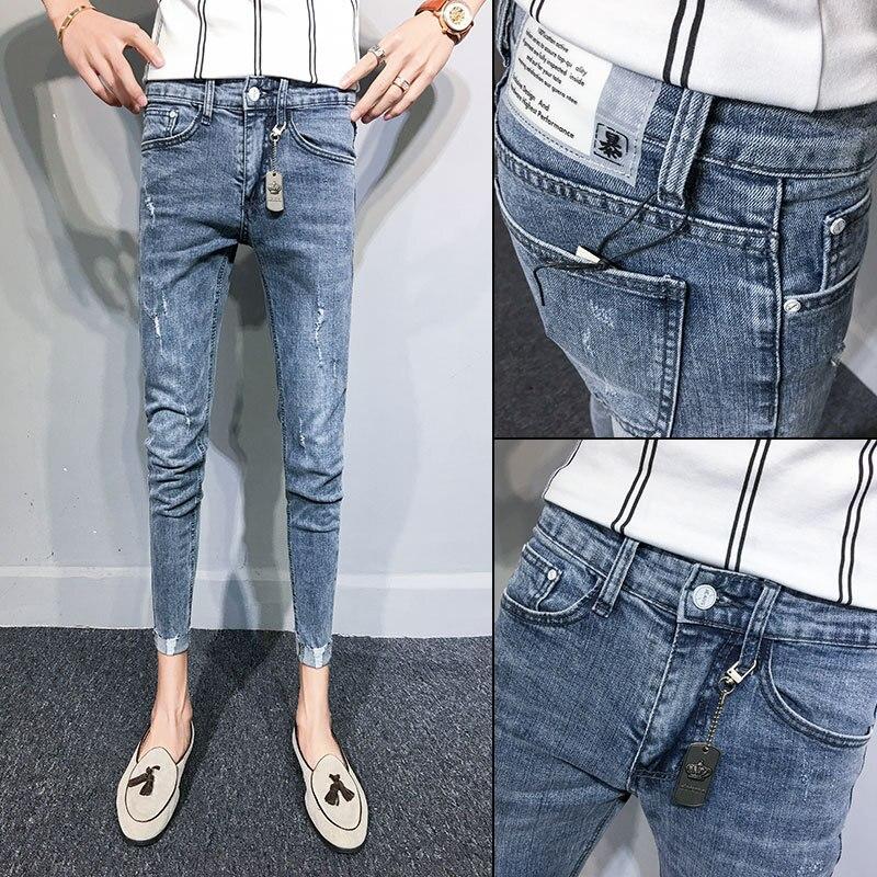 Skinny Denim Jeans Men 2020 Feet Men's Brand Spirit Guy Pants Slim Feet Ripped Holes Society Teenagers Young Boys Pencil Pants