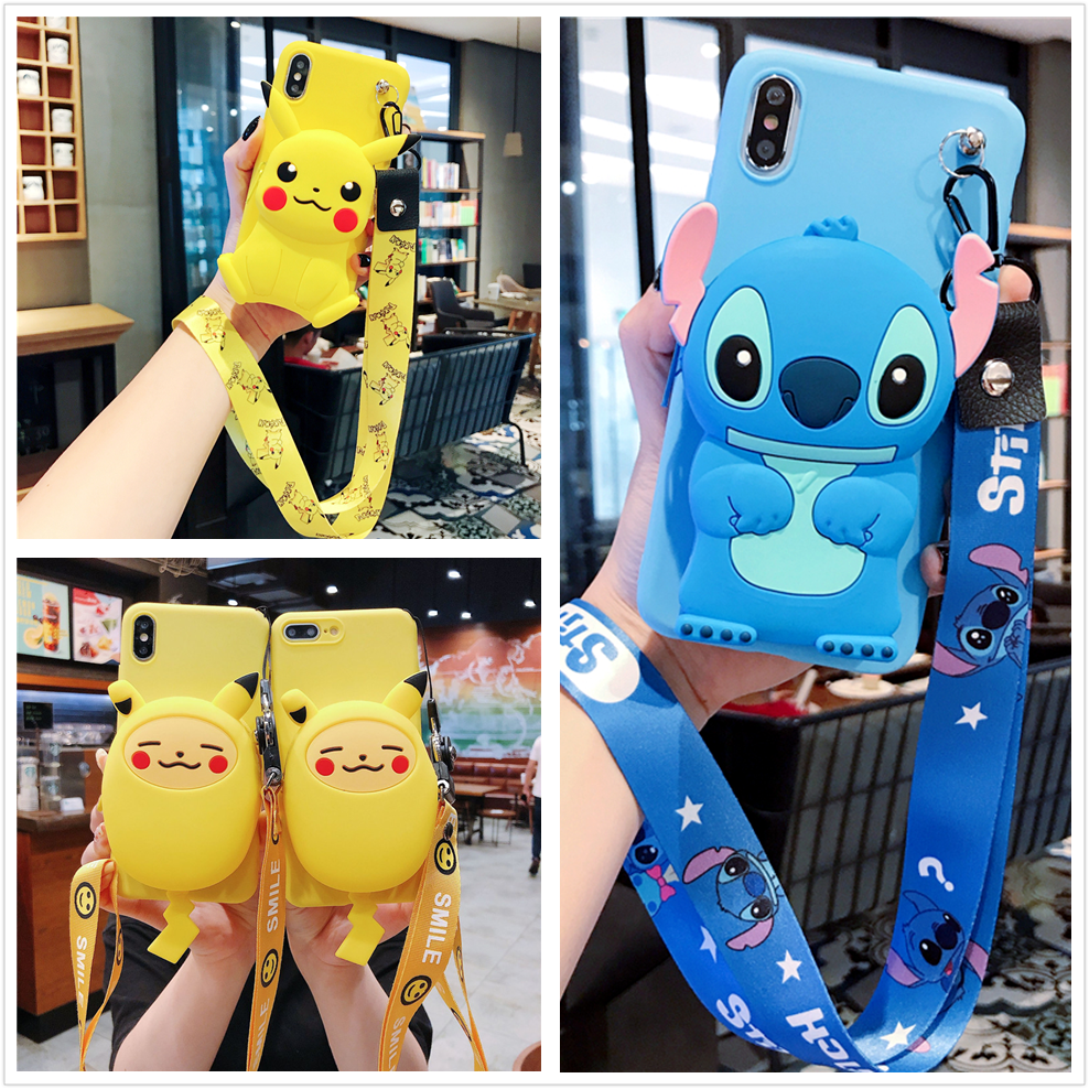 For Samsung S10 S8 S9 Note 8 9 10 Plus A20 20 50 70 80 J4 J6 J8 Cover Wallet Pokemons Stitch Soft TPU Case