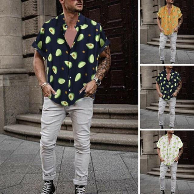 Summer Avocado Print Men Shirt Men Streetwear Turn-down Collar Short Sleeve Casual Beach Hawaiian Shirts Short Sleeve Shirt#g30