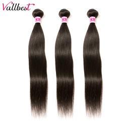 Vallbest прямые пучки волос 1/3 Связки предложения Remy натуральные волосы расширение бразильские волосы Weave Связки 8-28 дюймов природа черный