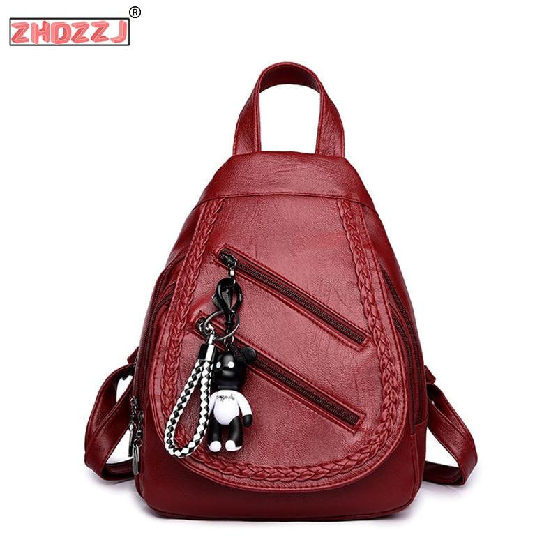 Designer Fashion Weave Backpacks Female Leather Backpacks Women Large Capacity Travel Bags Zipper Shoulder Casual Bags For Women