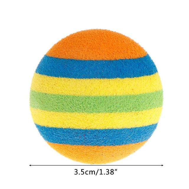 10 Pcs/Set Rainbow Ball Pet Toys EVA Soft Interactive Cat Dog Puppy Kitten Play Funny Colorful Gifts Chew Balls Pets Products 4