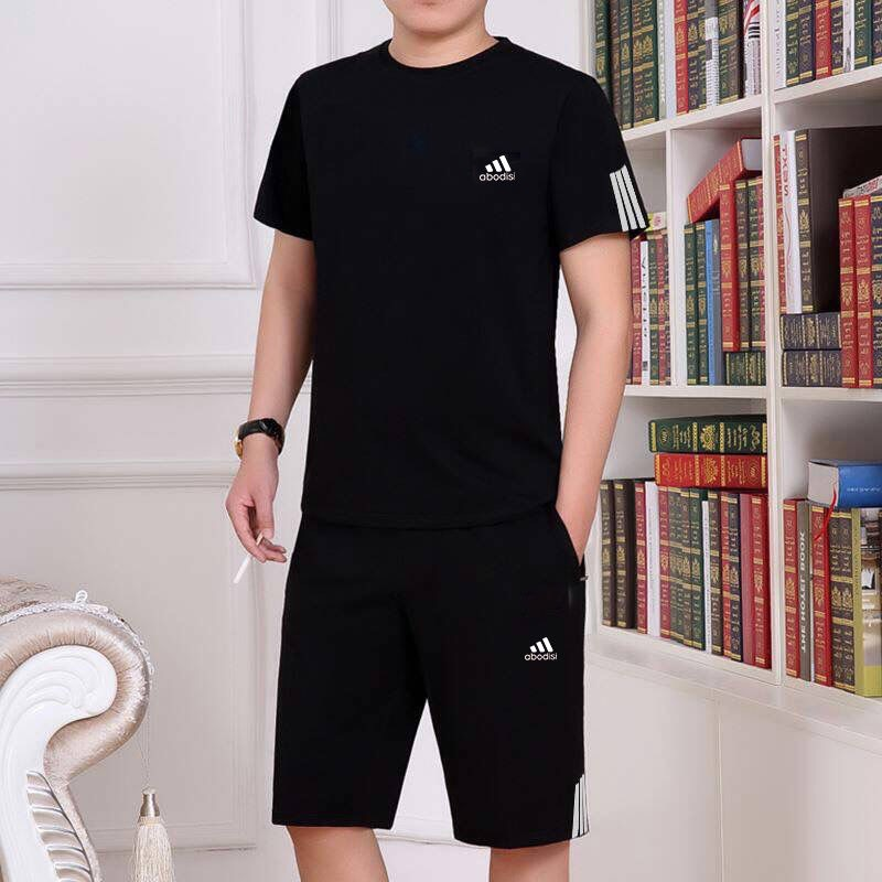 Sports Clothing Set 2019 Summer Popular Brand Thin Men's Pure Cotton Casual Suit Shorts T-shirt Two-Piece Set Men'S Wear