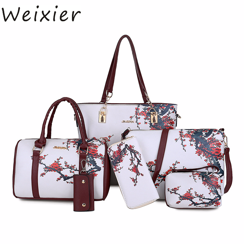 WEIXIER New Women PU Leather Handbags Women Printed Bags Designer 6 Pieces Set Shoulder Crossbody Bags For Women Big Tote X1-38