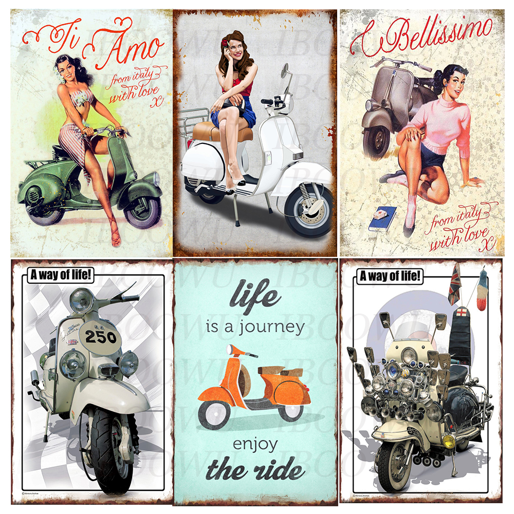 Lambretta Poster Vintage Motorcycle Metal Tin Plaque Retro Signs Plate Home Wall Decor 20x30cm