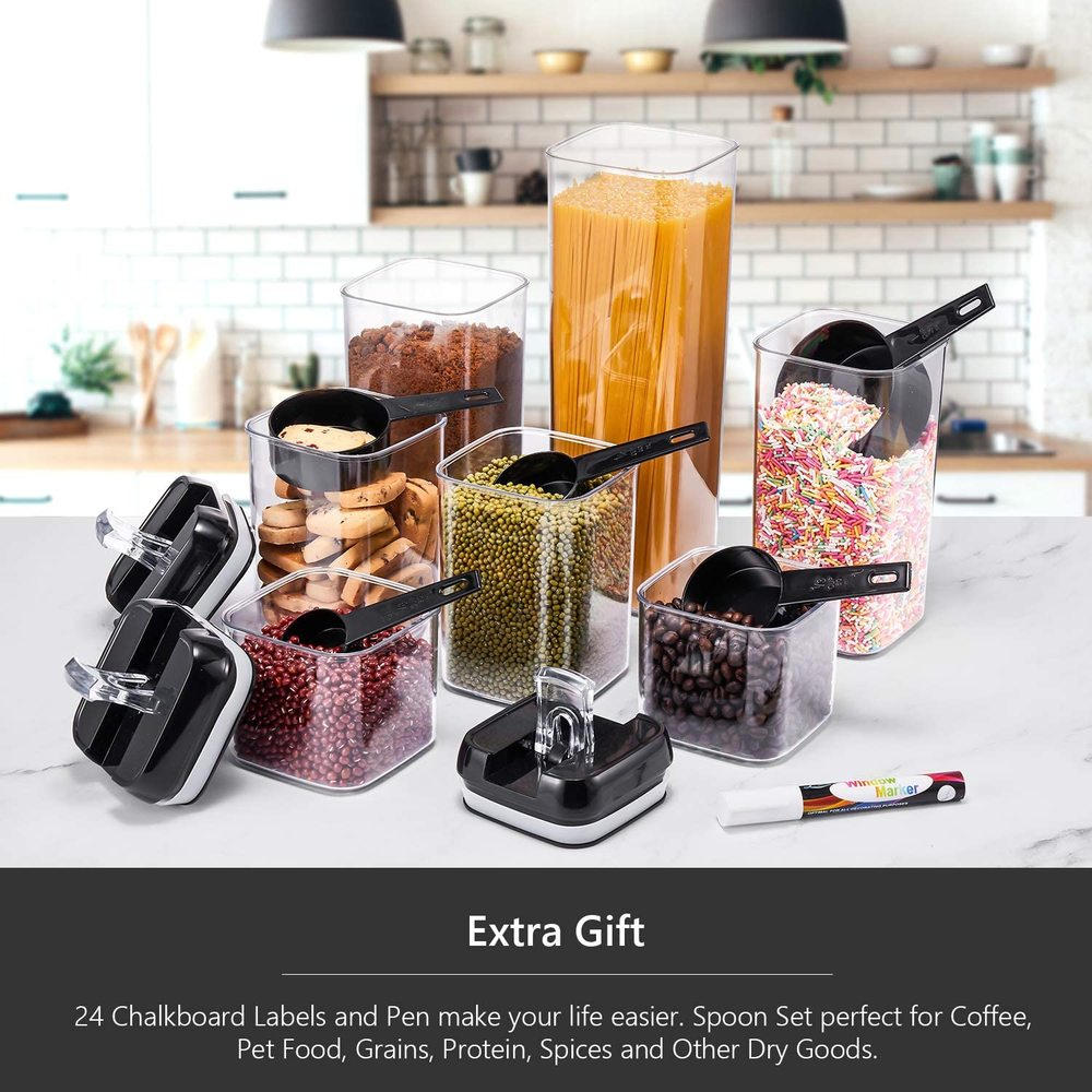 Black Food Storage Containers Jar Sets for Storing Cereals Clear Plastic Cans Kitchen Airtight Refrigerator Containers with Lids 5