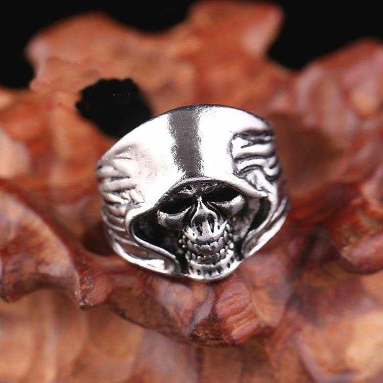 Cool Gifts for Men Trendy Men's Hyperbole Ring 316L Stainless Steel  Hip Hop Personalized Ring Domineering Punk Retro Skull Ring
