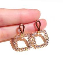 Hollow Out Zircon Square Drop Earrings For Women 2019 New Luxury Fashion Jewelry Delicate