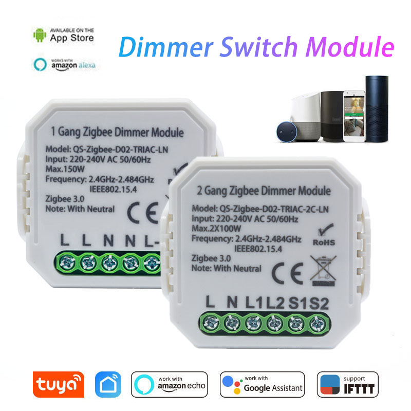 Tuya Zigbee 3.0 Smart Wireless Dimmer Switch Module 1 Gang/2 Gang Remote Control Works With Alexa Google Home Smart Home