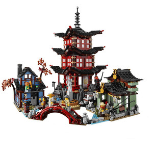 737pcs Diy Ninja Temple Of Airjitzu Ninjagoes Smaller Version Building Blocks Set Compatible With Lepining Toy For Kids Bricks(China)