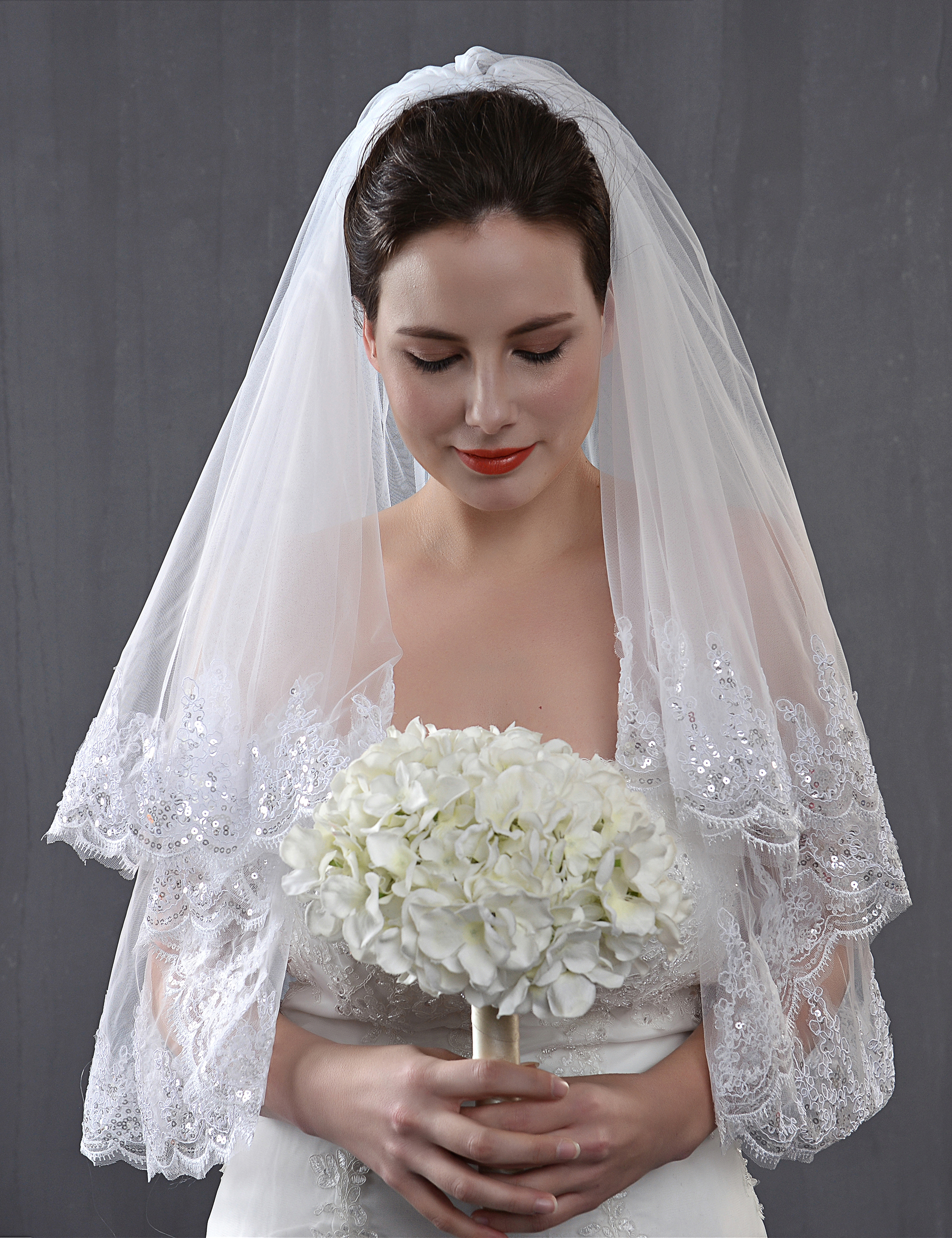 2 Tiers Sequin Fingertip Length Wedding Veils Bridal Veils White Ivory With Comb Bling Shinny Lace
