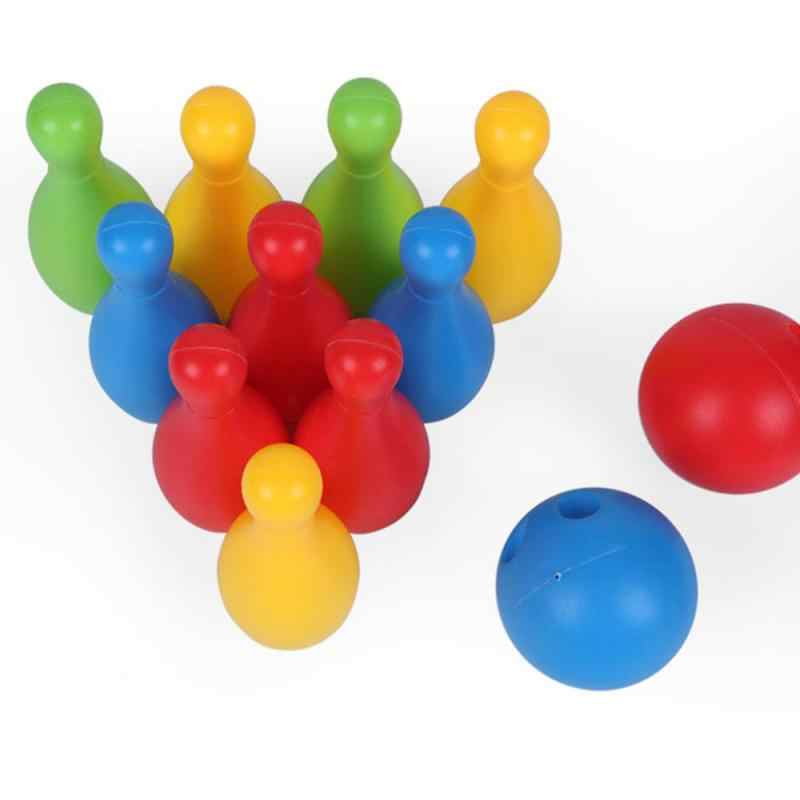 12PCS Bowling Set Kids Leisure Toy Solid Color Indoor Sport  Interaction Development Children Bowling Game Plastic Toys
